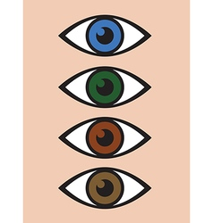 abstract eye icon set vector image vector image
