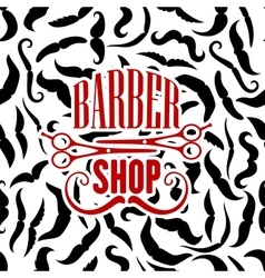 Barbershop symbol with scissors and moustaches vector image vector image