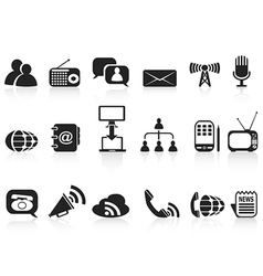black communication icons set vector image vector image