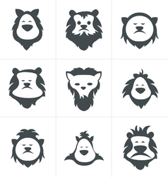 Black lion face icon isolated on white vector