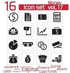 black money icons set vector image