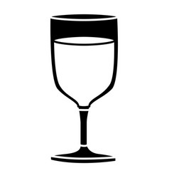 black silhouette of glass cup of champagne in vector image