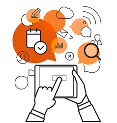 Communicating via modern tablet gadget Simple line vector image vector image