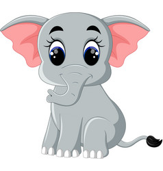 cute elephant cartoon sitting vector image