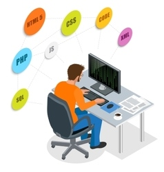 Developer using laptop computer web development vector