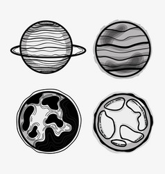 Differents planets in the galaxy space vector