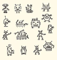 Doodle handrawn robots vector