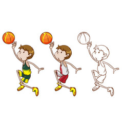 drafting character for basketball player dunking vector image vector image