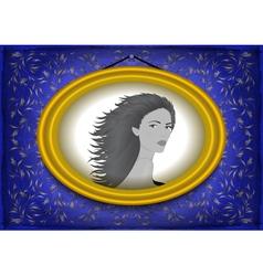 Female portrait in golden frame vector image