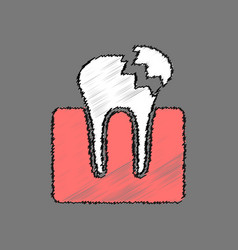 Flat shading style icon broken tooth vector