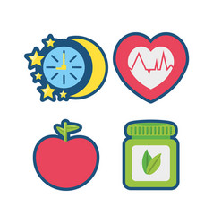 fruits chronometer healthy pills and heartbeat vector image