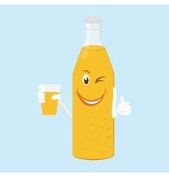 fun bottle of lemonade with glass vector image