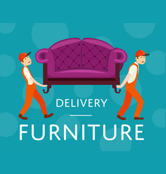 furniture delivery service poster with workers vector image