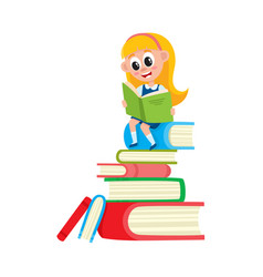 Girl reading sitting on huge pile stack of books vector