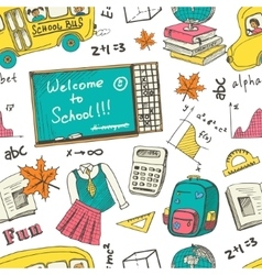 Hand drawn Back to school colorful seamless vector image
