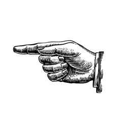 Hand drawn retro forefinger vector