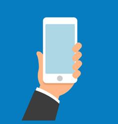 hand holding smartphone flat design vector image