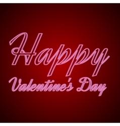 happy valentines day neon text vector image vector image