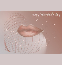 lips kiss on valentines day vector image
