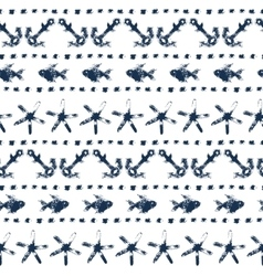 Marine striped seamless pattern with anchors vector image