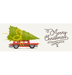 Merry christmas of retro holiday car vector