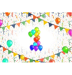Number one made up from bright colorful balloons vector