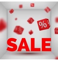 Opened box room with sale text and red 3d discount vector