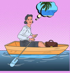 Pop art business woman floating on a boat vector