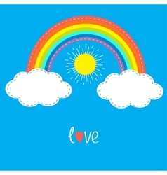 Rainbow clouds and sun dash line love card flat vector