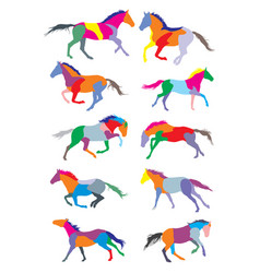 set of horses colorful silouettes vector image vector image