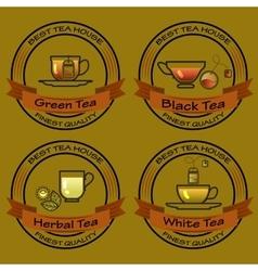 Set of tea shop logos logotype design vector