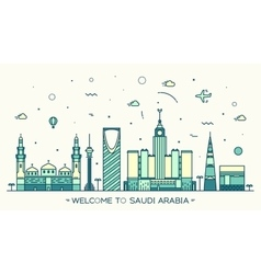 Skyline saudi arabia trendy linear style vector