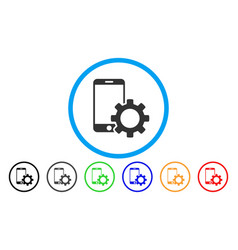 Smartphone configuration gear rounded icon vector