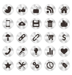 Social Web aluminium Icons vector image vector image