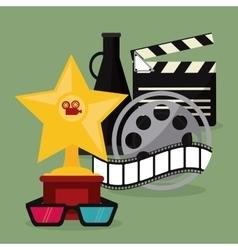 Star glasses clapboard movie icon graphic vector