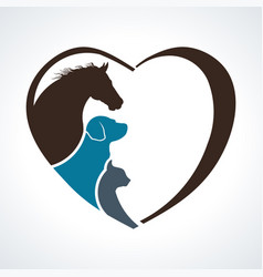 Veterinarian heart animal love horsedog and cat vector