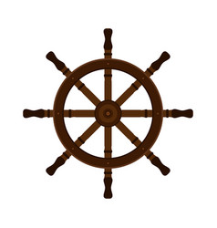 wooden ship helm in flat style for yacht clubs vector image vector image