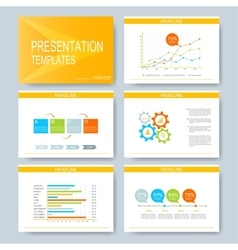 Yellow set of templates for multipurpose vector image vector image