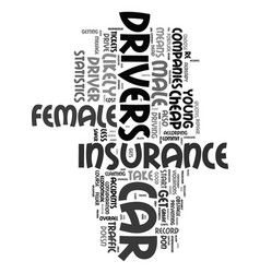 Young female cheap car insurance text word cloud vector