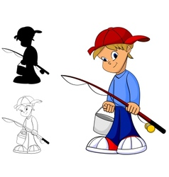 Kid fishing vector