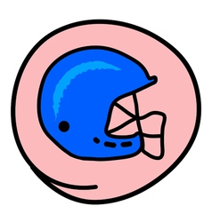 A Football Helmet on Pink Round Background vector image