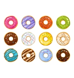 Sweets donuts sugar glazed fries pastry vector