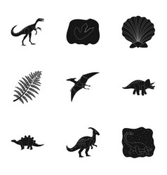 Ancient extinct animals and their tracks and vector