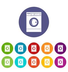washing machine icons set flat vector image