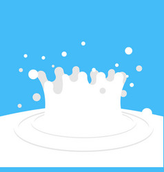 Splash of milk white drops on blue background vector