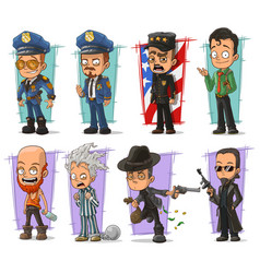 Cartoon policeman in uniform and gangster set vector