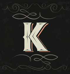 retro style western letter design letter k vector image