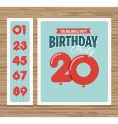 Birthday card balloons numbers vector