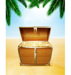 Treasure chest on a tropical beach vector
