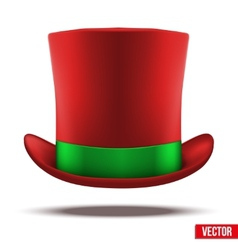 Red hat cylinder with green ribbon vector